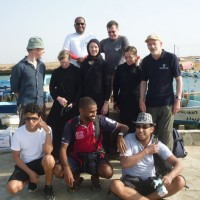 The DISPERSE 2014 Diving Team in Farasan: Top: Waleed Mozayen, Garry Momber; Middle: Brandon Mason, Janet Gillespie, Christin Mason, Lauren Tidbury, Geoff Bailey; Bottom: Faris Hamzi, Abdullah Al Haiti, Jumah Al Sadiq (Photo: Muzna Bailey: 2014).