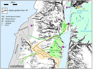 Fig. 3. Reconstruction of large mammal movements in the Galilee region. Compiled by: D. Sturdy, G. King, M. Devès